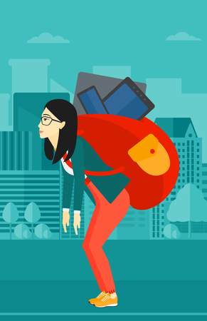 cary: An asian sad woman walking with a big backpack full of different devices on a city background vector flat design illustration. Vertical layout.