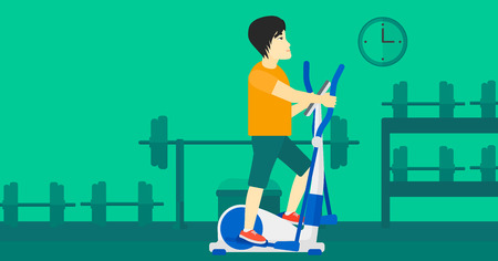 An asian man exercising on a elliptical machine in the gym vector flat design illustration. Horizontal layout. Ilustração