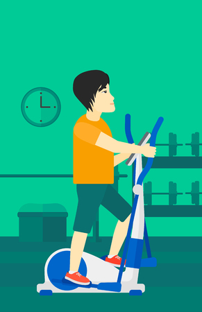 machine man: An asian man  exercising on a elliptical machine in the gym vector flat design illustration. Vertical layout.