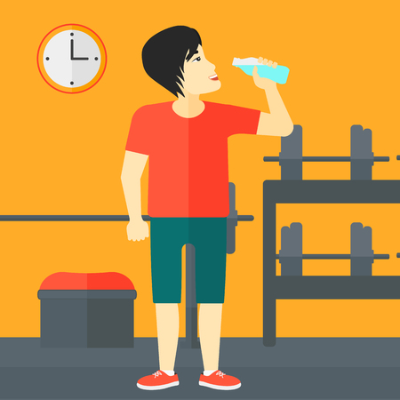 man drinking water: An asian man drinking water in the gym vector flat design illustration. Square layout. Illustration