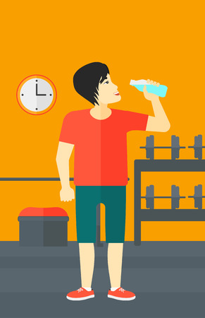 man drinking water: An asian man drinking water in the gym vector flat design illustration. Vertical layout. Illustration