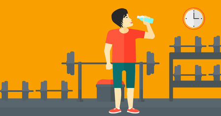 man drinking water: An asian man drinking water in the gym vector flat design illustration. Horizontal layout.