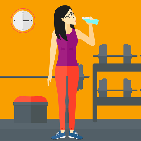 sportive: An asian sportive woman drinking water in the gym vector flat design illustration. Square layout.