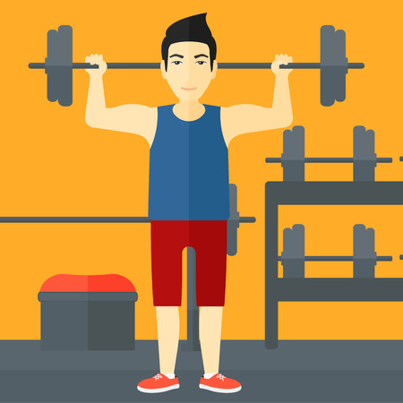 crossbar: An asian man lifting a barbell in the gym vector flat design illustration. Square layout.