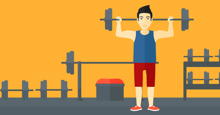 asian bodybuilder: An asian man lifting a barbell in the gym vector flat design illustration. Horizotal layout.
