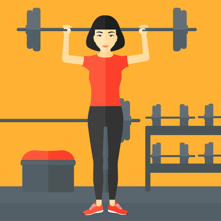 crossbar: An asian woman lifting a barbell in the gym vector flat design illustration. Square layout.
