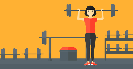 asian bodybuilder: An asian woman lifting a barbell in the gym vector flat design illustration. Horizontal layout. Illustration