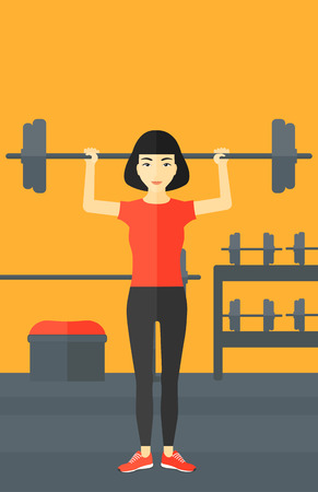 crossbar: An asian woman lifting a barbell in the gym vector flat design illustration. Vertical layout. Illustration