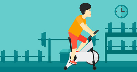An asian man exercising on stationary training bicycle in the gym vector flat design illustration. Horizontal layout. Ilustração