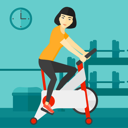 cardiovascular exercising: An asian woman exercising on stationary training bicycle in the gym vector flat design illustration. Square layout. Illustration