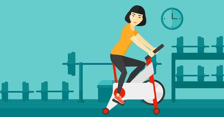 deportes caricatura: Una mujer asi�tica que ejercita en la bicicleta estacionaria de formaci�n en la ilustraci�n vectorial dise�o plano gimnasio. disposici�n horizontal.
