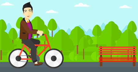 An asian man riding a bicycle in the park vector flat design illustration. Horizontal layout.