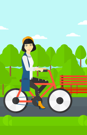 road cycling: An asian woman riding a bicycle in the park vector flat design illustration. Vertical layout. Illustration
