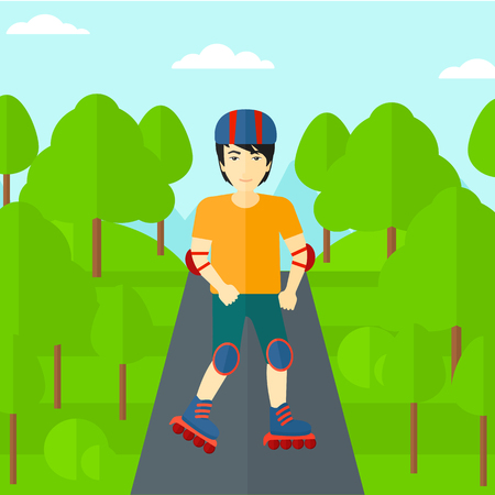 rollerskates: An asian  man on the roller-skates in the park vector flat design illustration. Square layout. Illustration