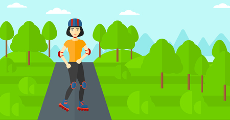 rollerskates: An asian sporty woman on the roller-skates in the park vector flat design illustration. Horizontal layout.