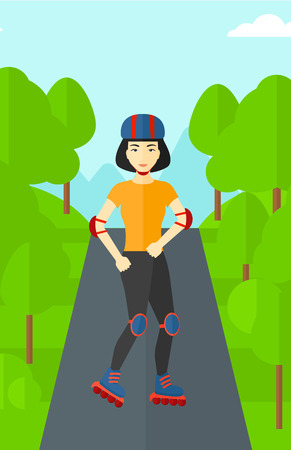 forest trees: An asian sporty woman on the roller-skates in the park vector flat design illustration. Vertical layout.