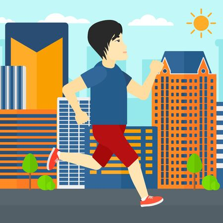 sportive: An asian sportive man jogging on a city background vector flat design illustration. Square layout.