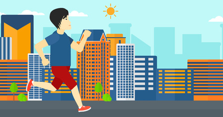 sportive: An asian sportive man jogging on a city background vector flat design illustration. Horizontal layout.