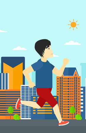 sportive: An asian sportive man jogging on a city background vector flat design illustration. Vertical layout.