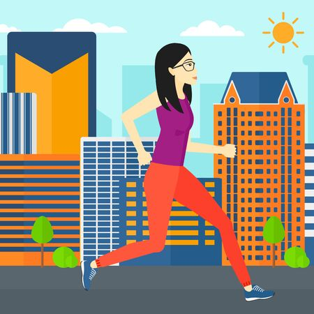 sportive: An asian sportive woman jogging on a city background vector flat design illustration. Square layout.