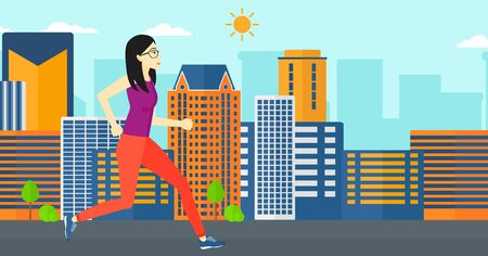 sportive: An asian sportive woman jogging on a city background vector flat design illustration. Horizontal layout.