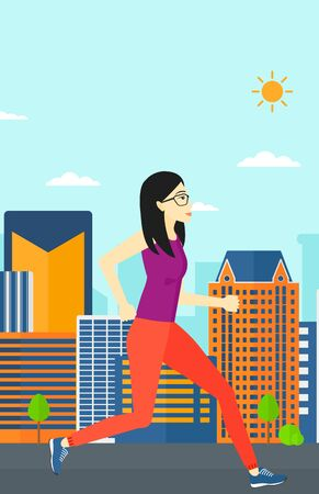 sportive: An asian sportive woman jogging on a city background vector flat design illustration. Vertical layout.