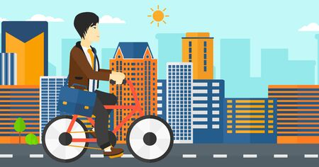 asian cartoon: An asian man with a briefcase cycling to work on city background vector flat design illustration. Horizontal layout.