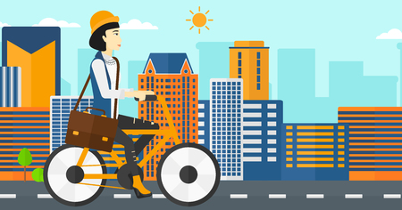 asian cartoon: An asian woman with a briefcase cycling to work on city background vector flat design illustration. Horizontal layout.