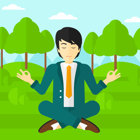 An asian businessman meditating in lotus pose in the park vector flat design illustration. Square layout.