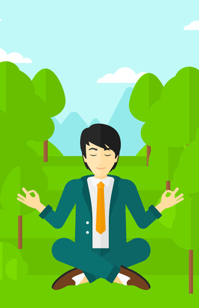concentrating: An asian businessman meditating in lotus pose in the park vector flat design illustration. Vertical layout.
