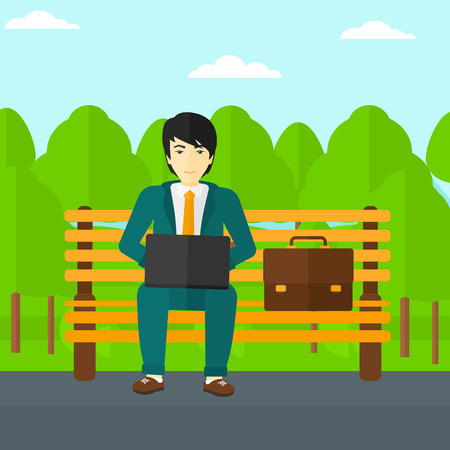 man with laptop: An asian man sitting in the park on a bench and working on a laptop vector flat design illustration. Square layout.