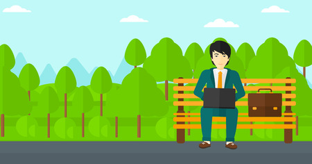 An asian man sitting in the park on a bench and working on a laptop vector flat design illustration. Horizontal layout.