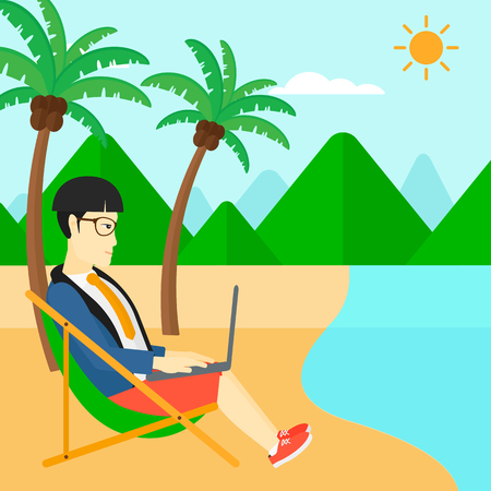 chaise lounge: An asian businessman sitting on the beach in chaise lounge and working on a laptop vector flat design illustration. Square layout.