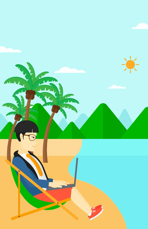 chaise lounge: An asian businessman sitting on the beach in chaise lounge and working on a laptop vector flat design illustration. Vertiacl layout. Illustration