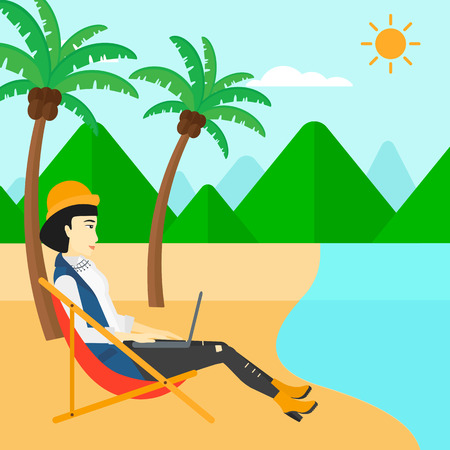 asian business: An asian business woman sitting on the beach in chaise lounge and working on a laptop vector flat design illustration. Square layout.