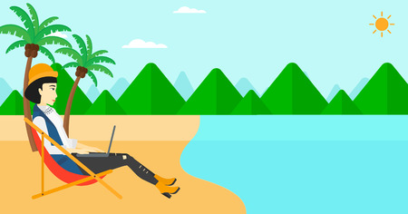 chaise lounge: An asian business woman sitting on the beach in chaise lounge and working on a laptop vector flat design illustration. Horizontal layout.