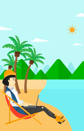 chaise lounge: An asian business woman sitting on the beach in chaise lounge and working on a laptop vector flat design illustration. Vertical layout.