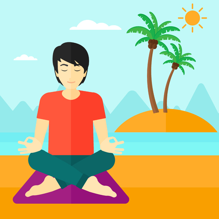 distension: An asian man meditating in lotus pose on the beach vector flat design illustration. Square layout. Illustration