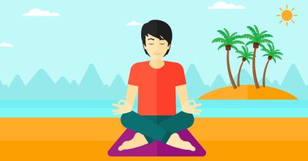 An asian man meditating in lotus pose on the beach vector flat design illustration. Horizontal layout.