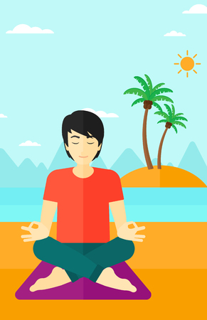An asian man meditating in lotus pose on the beach vector flat design illustration. Vertical layout.