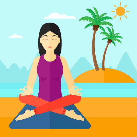 elasticity: An asian woman meditating in lotus pose on the beach vector flat design illustration. Square layout.