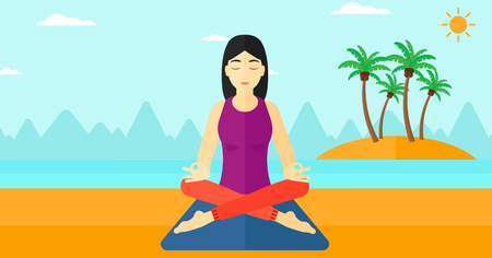 elasticity: An asian woman meditating in lotus pose on the beach vector flat design illustration. Horizontal layout.