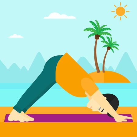 An asian man standing in yoga downward facing dog pose on the beach vector flat design illustration. Square layout.