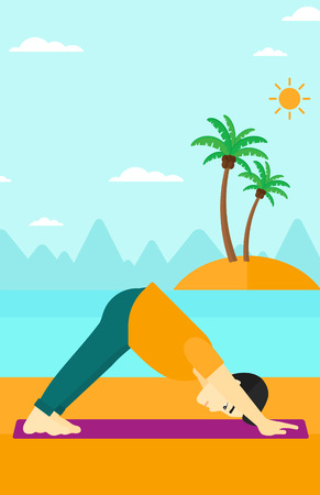 facing: An asian man standing in yoga downward facing dog pose on the beach vector flat design illustration. Vertical layout. Illustration
