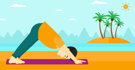 downward: An asian man standing in yoga downward facing dog pose on the beach vector flat design illustration. Horizontal layout. Illustration