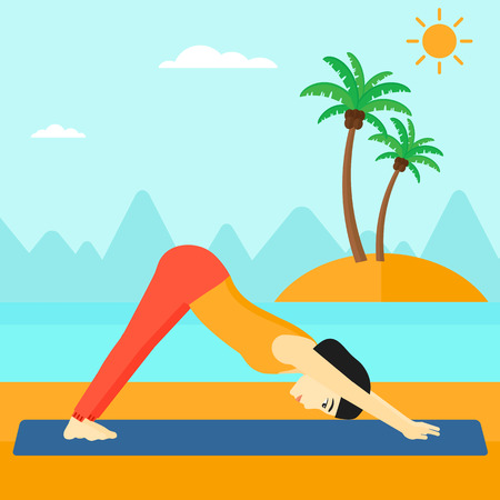 facing: An asian woman standing in yoga downward facing dog pose on the beach vector flat design illustration. Square layout.