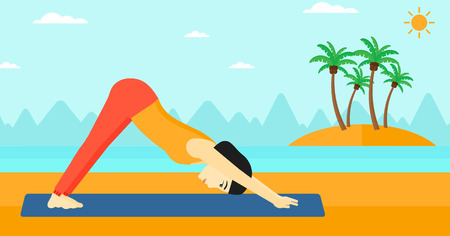 An asian woman standing in yoga downward facing dog pose on the beach vector flat design illustration. Horizontal layout.