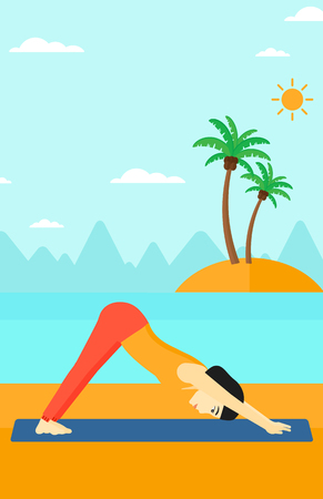 facing: An asian woman standing in yoga downward facing dog pose on the beach vector flat design illustration. Vertical layout.