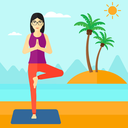 An asian woman standing in yoga tree pose on the beach vector flat design illustration. Square layout. Vettoriali