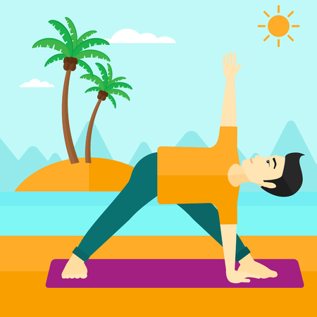 An asian man meditating in yoga triangle pose on the beach vector flat design illustration. Square layout.